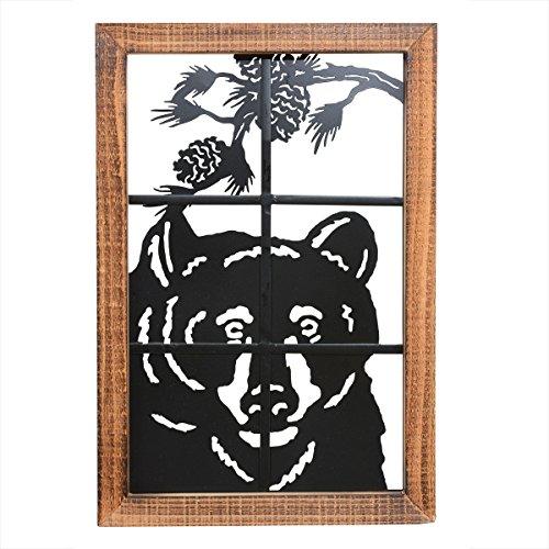 Bear in Window Metal/Wood Wall Art by Black Forest Decor