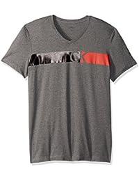 Calvin Klein Men's Short Sleeve Bar Ck Logo V-Neck T-Shirt