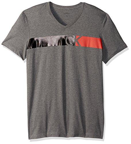 Calvin Klein Men's Short Sleeve Bar CK Logo V-Neck T-Shirt, Medium Grey Heather, (Bar Logo Tee)