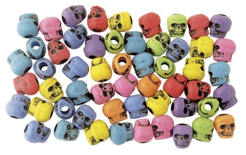 The Beadery 4-Ounce Bag of Skull Beads, Circus Multi with Black Antiquing (Beads Plastic Skull)