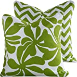 "Chartreuse Twirlies Collection - 18"" Square Boutique Throw Pillow Covers - Chartreuse and White Flowers with Zip Zag - Green and White Hues - 1 Pillow Cover"