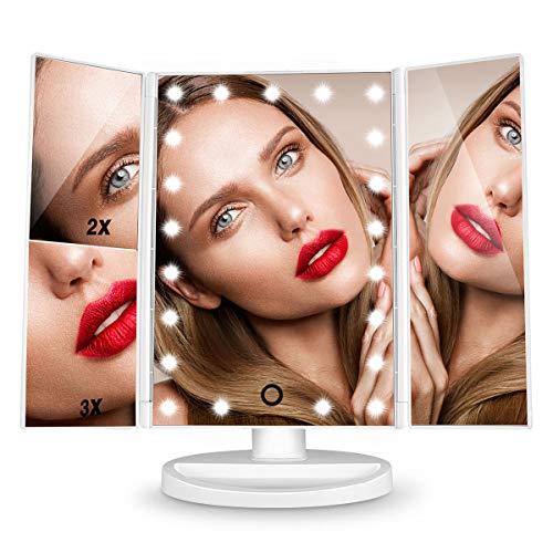 HAMSWAN Espejo de Mesa, [Regalos Originales] Espejo de Maquillaje Triptico con Aumento 1x, 2X, 3X, Espejo Cosmetico Pantalla Tactil en Iluminacion 21 Led, Carga con USB o Bateria, Adjustable 180º