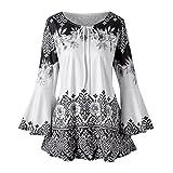 OSTELY Women's Casual Plus Size Printed Flare Sleeve Keyhole Tops Blouse(Black, Medium)