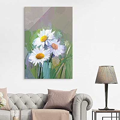 Abstract Watercolor Style White Flowers - Canvas Art