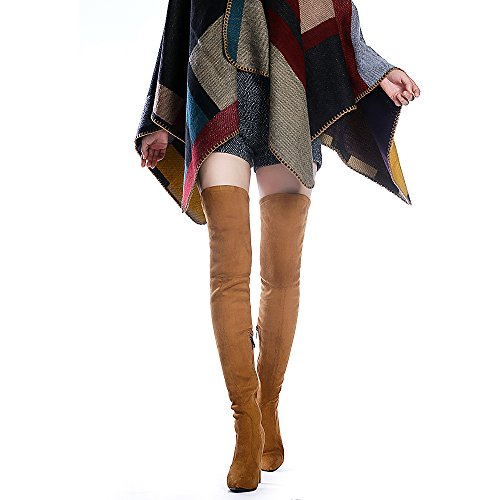 ff96c0f0e200 cheap Shoe'N Tale Women Stretch Suede Chunky Heel Thigh High Over The Knee  Boots