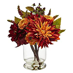 Nearly Natural Dahlia and Mum Arrangement with Vase 115