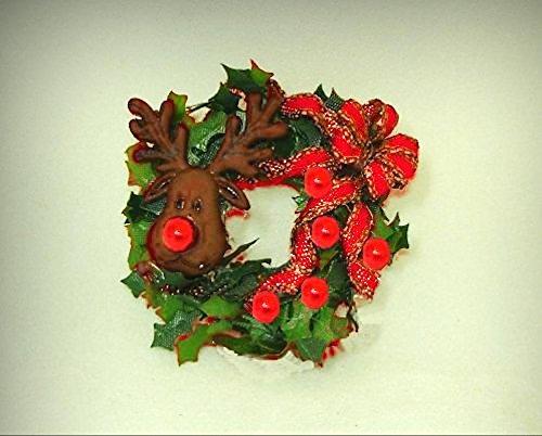 Dollhouse Miniature Rudolph Reindeer Christmas Wreath 1:12 Doll House Miniatures - My Mini Garden Dollhouse Accessories for Outdoor or House Decor