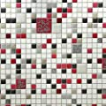 10m Slavyanski Vinyl Wallpaper Textured Faux Tiles Small Mosaic Modern wallcoverings Double Rolls Pattern coverings Textures Wall Kitchen Decor 3D White Gray red Black Silver Gold Metallic strippable