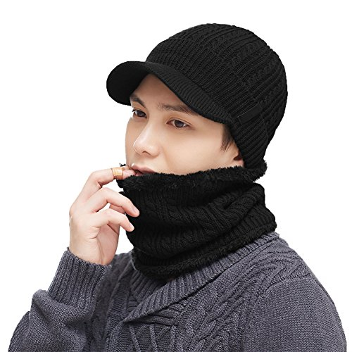 Knit Acrylic Wool (2 Piece Wool Knit Hat & Scarf Sets Visor Beanie Fleece Lined Cold Weather Winter Hat Jeep Cap w/Neck Warmer Gaiter Black)