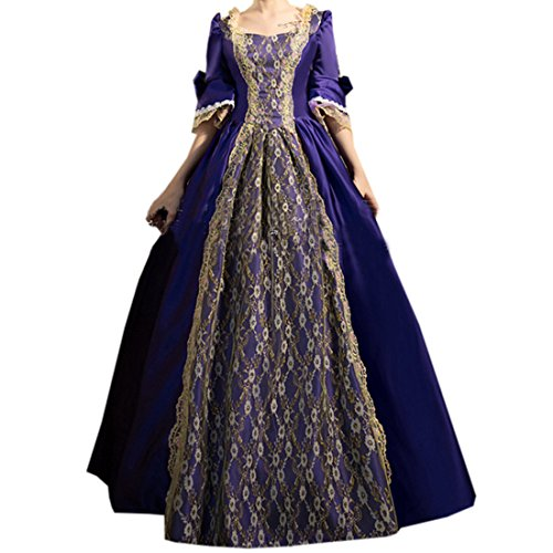 Partiss Women's Prom Gothic Victorian Fancy Palace Masquerade Lolita Dresses,One Size,Purple (Purple Masquerade Dresses)