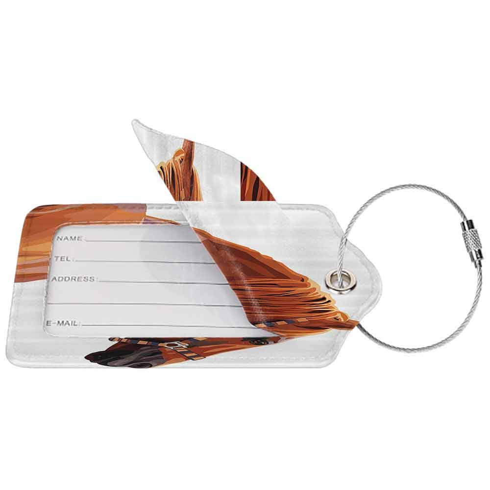 Decorative luggage tag Animal Race Jokey Horse Pure Noble Animal Ride Hobby Nature Vehicle Artwork Paint Suitable for travel White and Cinnamon W2.7 x L4.6