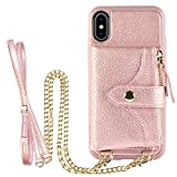 LAMEEKU Wallet Case for iPhone XS and iPhone X 5.8'', Credit Card Holder Leather Wallet Case with Crossbody Strap & Wrist Strap Zipper Leather Case Compatible with iPhone XS/iPhone X - Rose Gold