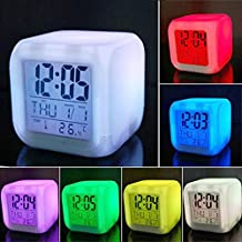 Icarekit 7 LED Color Change Digital Alarm Thermometer Clock with LCD Display Night Glowing Cube