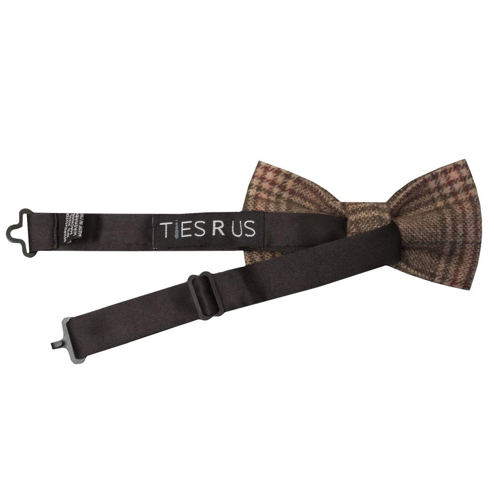 TIES R US Pre Tied Light Brown Check Tweed Boys Bow Tie Age 4-7