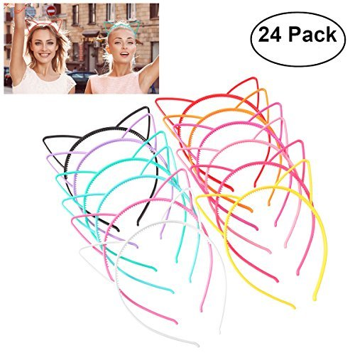 Unomor 24PCS Plastic Cat Ears Headband for Cat Birthday Party Supplies and Daily Decorations, 12 Colors ()