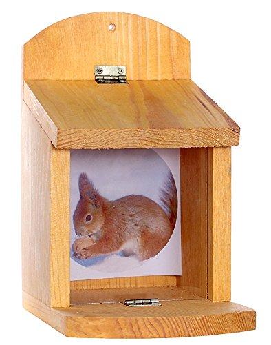 Garten und Holztrends Eichhörnchenfutterhaus-Eichhörnchen-Haus-Eichhörnchenhaus-Futterautomat-Futterhaus-Nistkasten-Kobel-Holzschindeldach-Vogelhaus-Eichhörnchenhaus-Eichhörnchenkobel