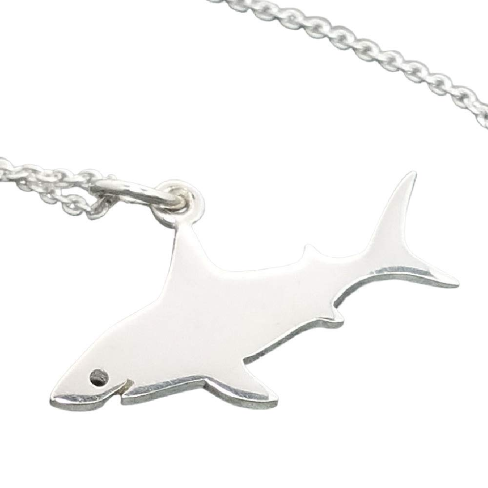 """Shark Charm Necklace - 925 Sterling Silver, 18"""""""