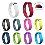 NIUTOP Fitbit Flex Wristband Wrist Band Bracelet with Clasp Replacement Accessory for Fitbit Flex Activity and Sleep Tracker (10 Colors Bands, Large)
