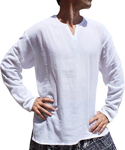 Raan Pah Muang RaanPahMuang Light Gauze Saloo Mens Summer Shirt Long Sleeve Small V Collar