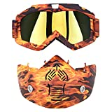 Goggles Face Mask,POSSBAY Motorcycle Helmet Goggles Glasses with Face Cover Mouth Filter