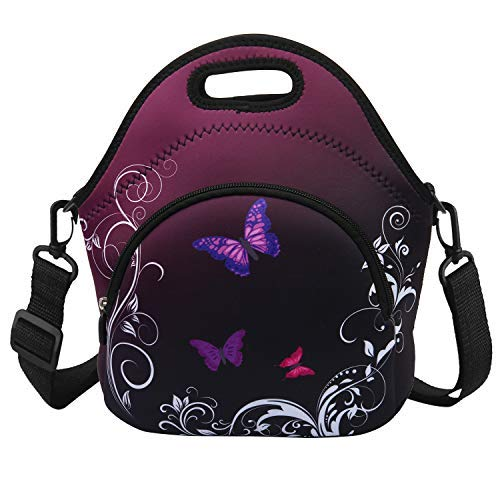 Lunch Bags for Women Neoprene Insulated Lunch Tote with Detachable Strap& Zipper Butterfly Magic Purple Large (Butterfly Napkin Fold)