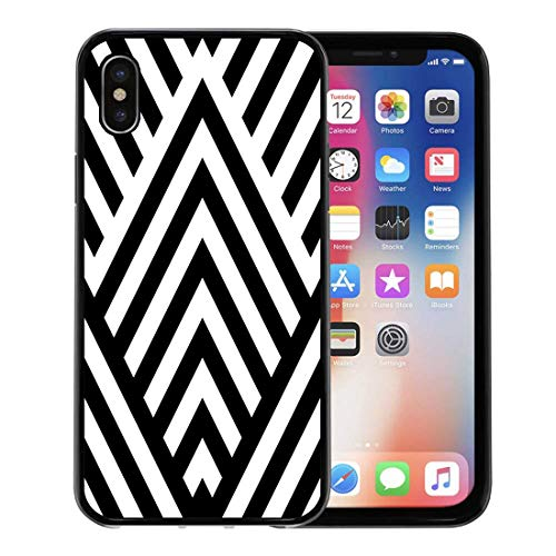 - Semtomn Phone Case for iPhone Xs case,Striped Black White Diagonal Lines Zigzag Chevron Rhomboid Scales Optical Effect Geometric in Op Illusive for iPhone X Case,Rubber Border Protective Case,Black