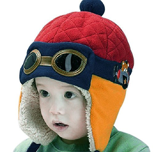 EUBUY Winter Warm Baby Kids Cool Pilot Aviator Fleece Hat Cap Earmuffs Earflap Hat Cap with Goggles Red