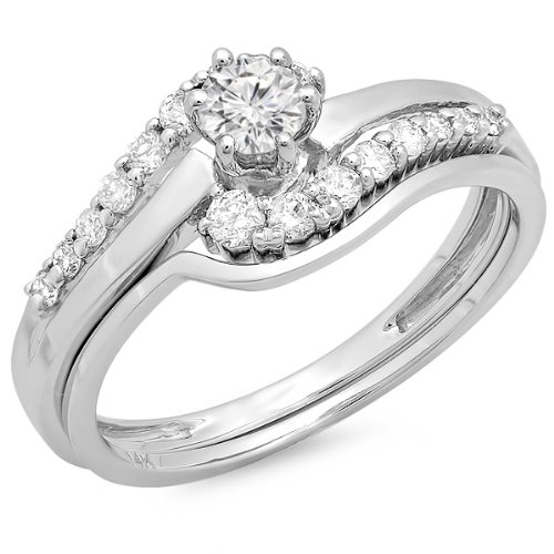 0.55 Carat (ctw) 14k White Gold Round Diamond Ladies Twisted Style Bridal Engagement Ring With Matching Band Set 1/2 CT (Size 7) by DazzlingRock Collection