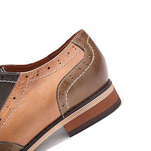 Mona Flying Cuir Perforé À Lacets Oxfords Chaussures Pour Femmes Wingtip Multicolor Brougue Chaussures Marron-gris