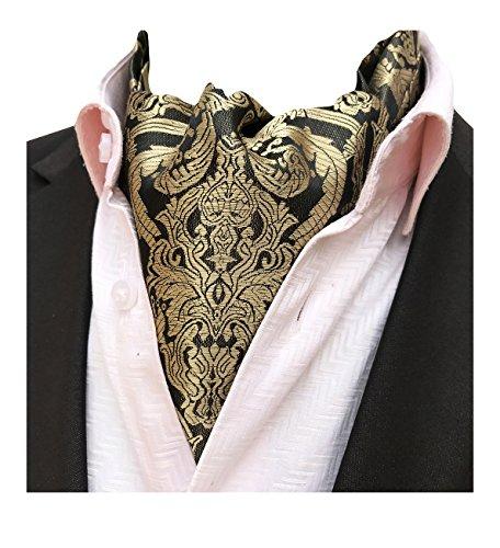 MENDENG Men's Burgundy Red Ripple Printing Paisley Woven Cravat Self Ascot (Ripple Tie)