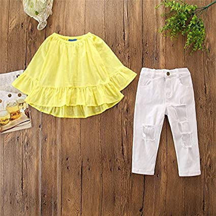 Kids Baby Little Girls Ruffle Tops Tshirt Ripped Holes Jeans Outfits Clothes Set