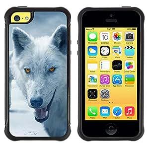 All-Round híbrido Heavy Duty de goma duro caso cubierta protectora Accesorio Generación-II BY RAYDREAMMM - Apple iPhone 5C - Wolf Arctic Winter Furry Canine Beast
