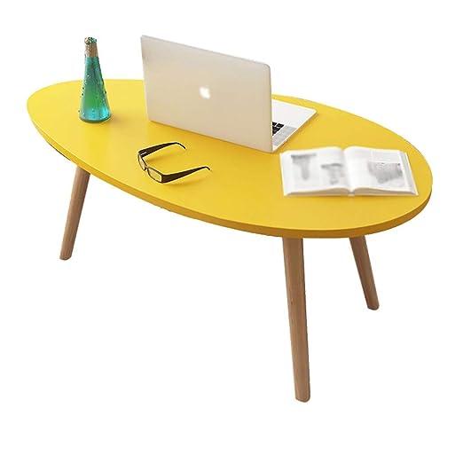 YZjk Muebles Decorativos Mesa de Centro Ovalada de Madera Sala de ...