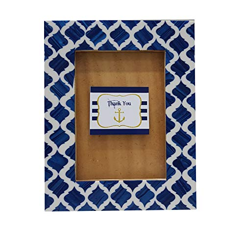 Collectibles Buy A Handmade Bone Inlay Photo Picture Frame Blue Sapphire Moroccan Design Wooden Wall Hanging Table top Frames,5 X 7 inch,Blue