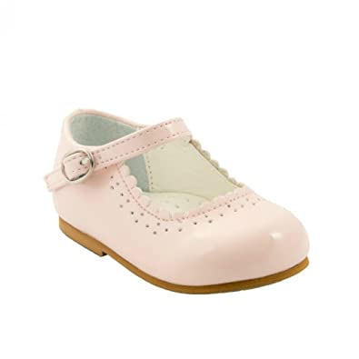 2ca224bb025 Sevva Baby Infant Girls Patent Non Slip First Walking Shoes Spanish Style  Emma White Navy Black Pink Red Wedding Party  Amazon.co.uk  Shoes   Bags