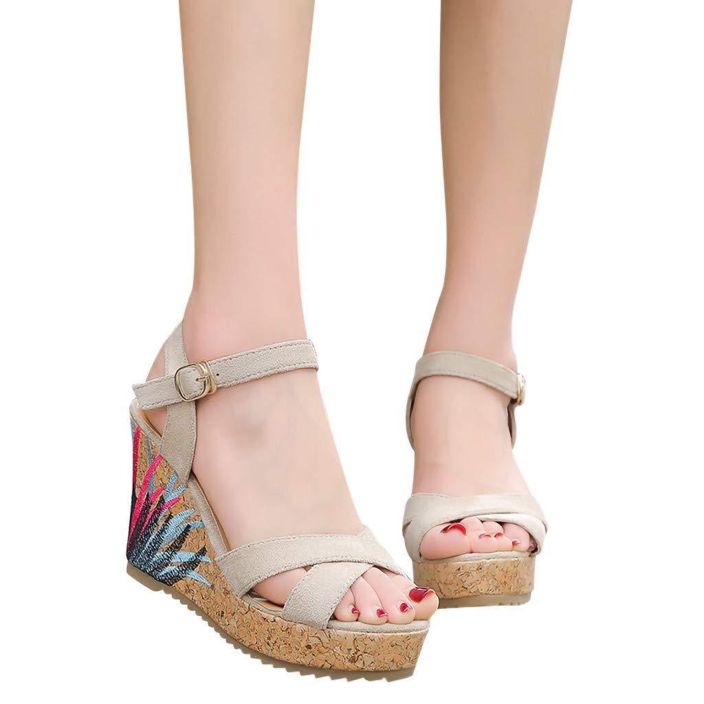 Lurryly Summer Womens Shoes Fashion Belt Buckle Sandals Wedges Roman Ladies Sandals
