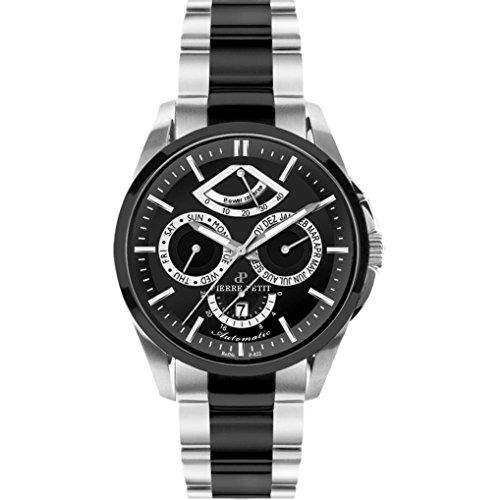 Pierre Petit Men's P-822D Le Mans Day Date Power Reserve Luminous Two Tone Stainless Steel Bracelet Watch