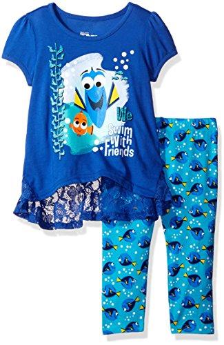 Nemo Outfit (Disney Little Girls' 2 Piece Finding Nemo Legging Set, Blue, 4)