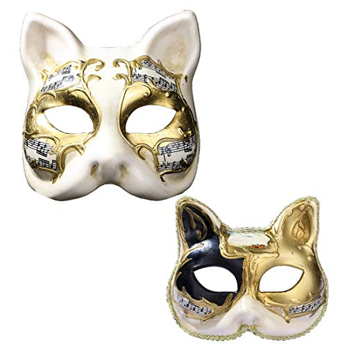 YU FENG Family Cat Venetian Masquerade Mask Costume Halloween Cosplay Mask for Party,Ball Prom,Mardi Gras,Wedding,Wall Decoration (Parent-Child) -