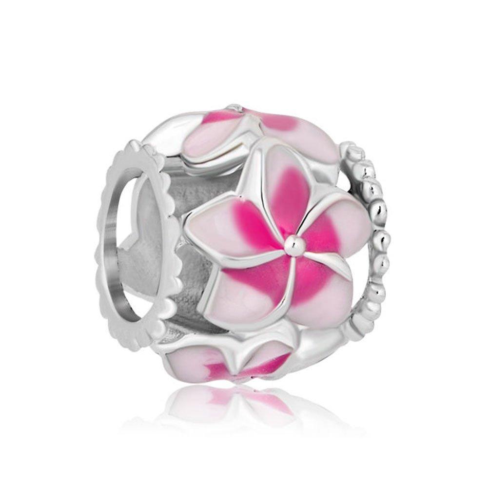 PoeticCharms Charm en argent sterling 925 Motif magnolia Ros/é Bloom Pale Cerise