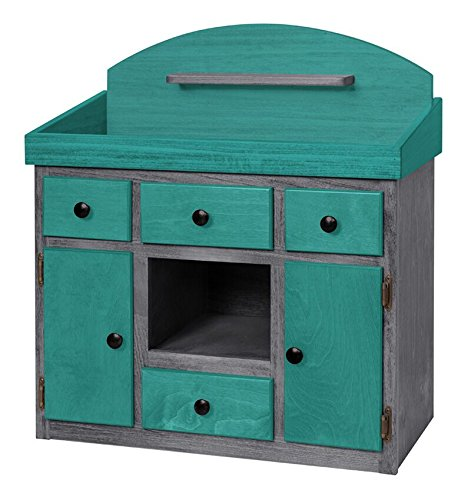 Deluxe Doll Changing Table Playroom Furniture USA Handmade, Turquoise & Gray by Clip Clop