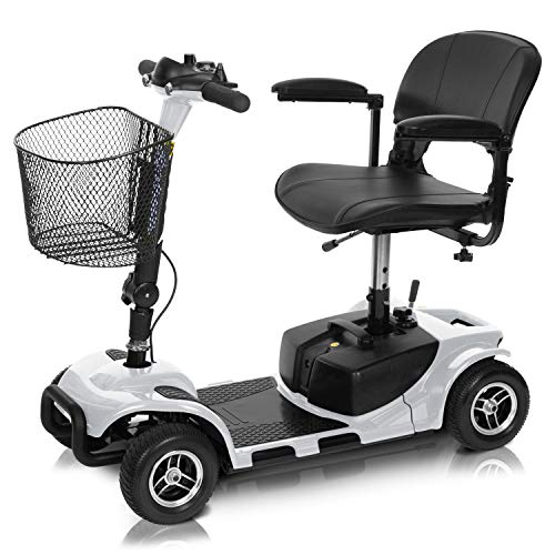 Vive 4 Wheel Mobility Scooter - Electric Powered Wheelchair Device - Compact Heavy Duty Mobile for Travel, Adults, Elderly - Long Range Power Extended Battery with Charger and Basket Included from Vive