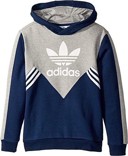 adidas Originals Kids Boy's Zigzag Trefoil Hoodie (Little Kids/Big Kids) Collegiate Navy/Medium Grey Heather/White ()