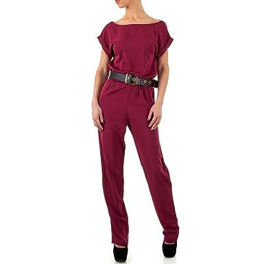 Damen Overall Hose Bluse Shirt Jumpsuit Weinrot S  Amazon.de  Bekleidung 1139e3b8cb