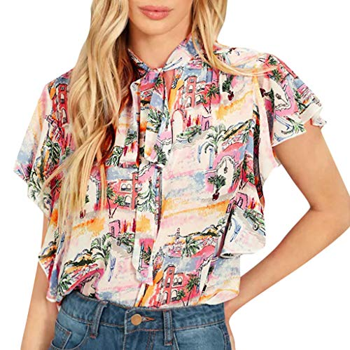 GHrcvdhw Women Summer Elegant Floral Print Short Sleeve Tops Shirt Bandage Casual Ladies Blouse
