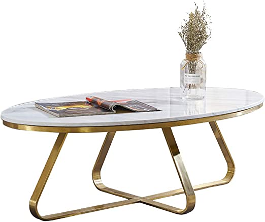 Oval Marble Coffee Table For Living Room Gold Metal 80x50x45cm