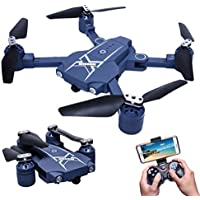 Mini Foldable Portable WiFi FPV RC Drone RC Quadcopter Altitude Hold 0.3MP 6-Axis Remote Control Drone With HD Camera Drone (Blue)