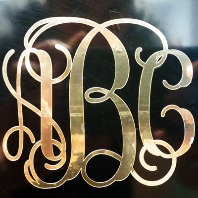 Gold chrome custom vine monogram initials vinyl decal bumper sticker for cars yeti