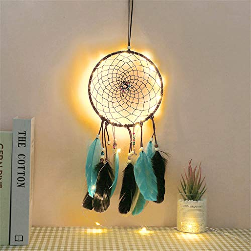 JHFUH LED Dream Catchers Handmade Traditional Feather Hand-Woven Original Warm Mysterious Dream Catcher Hanging Home Wall Decor Suitable for Living Room House Window Car
