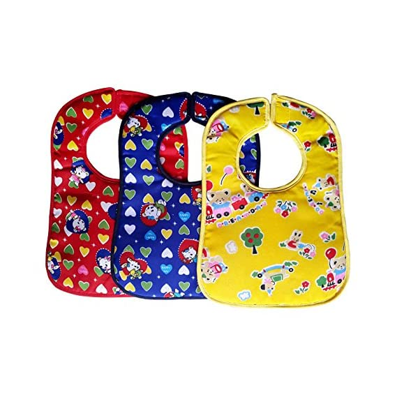 Littly Bibs Combo - Heart Print (Pack of 3, Multicolor)